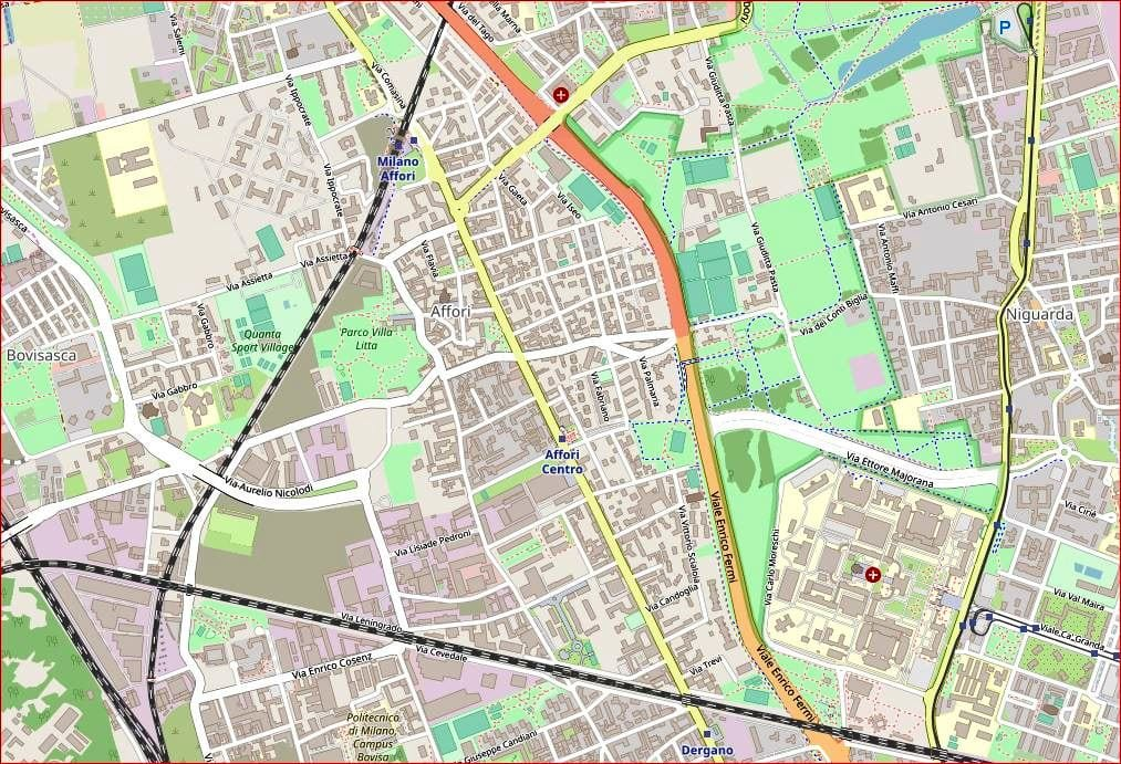 Mappa cartografica Affori Open Street Map